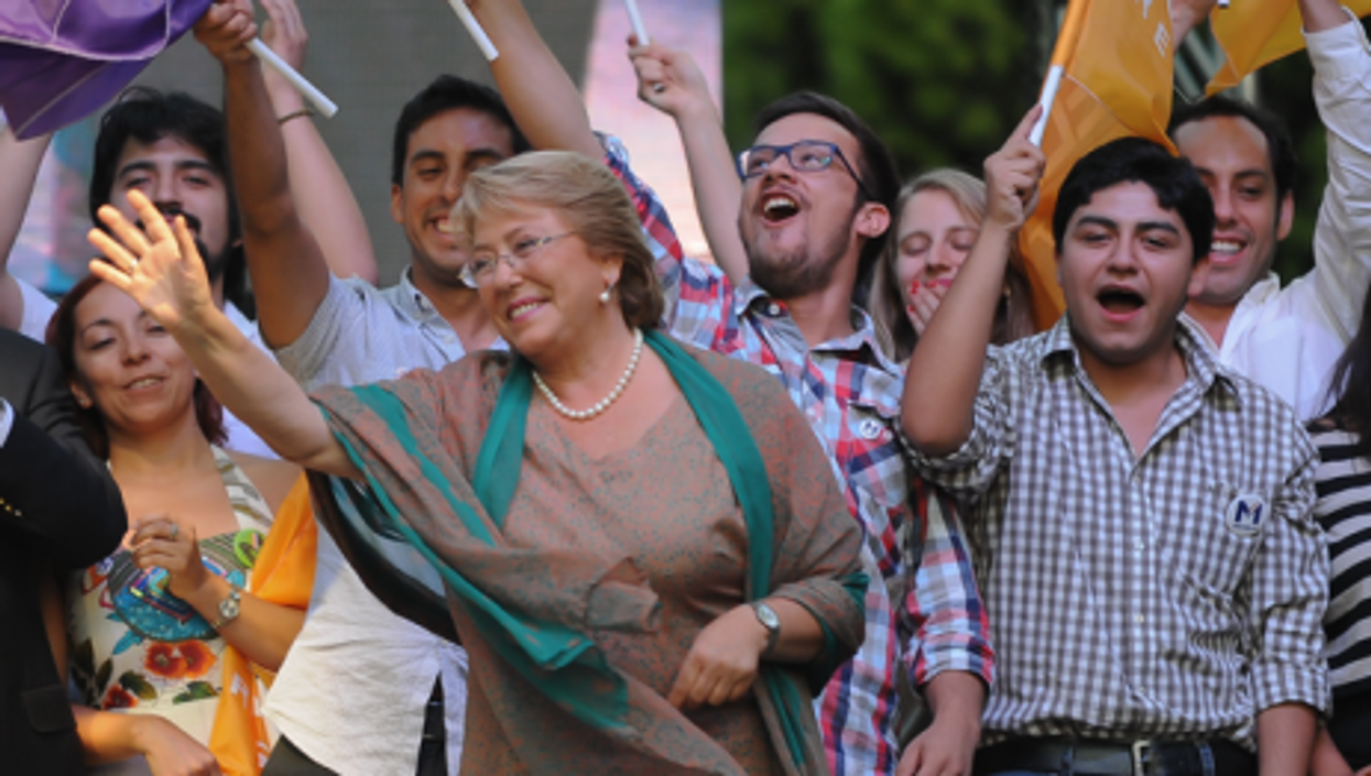 Bachelet celebrates victory Sunday
