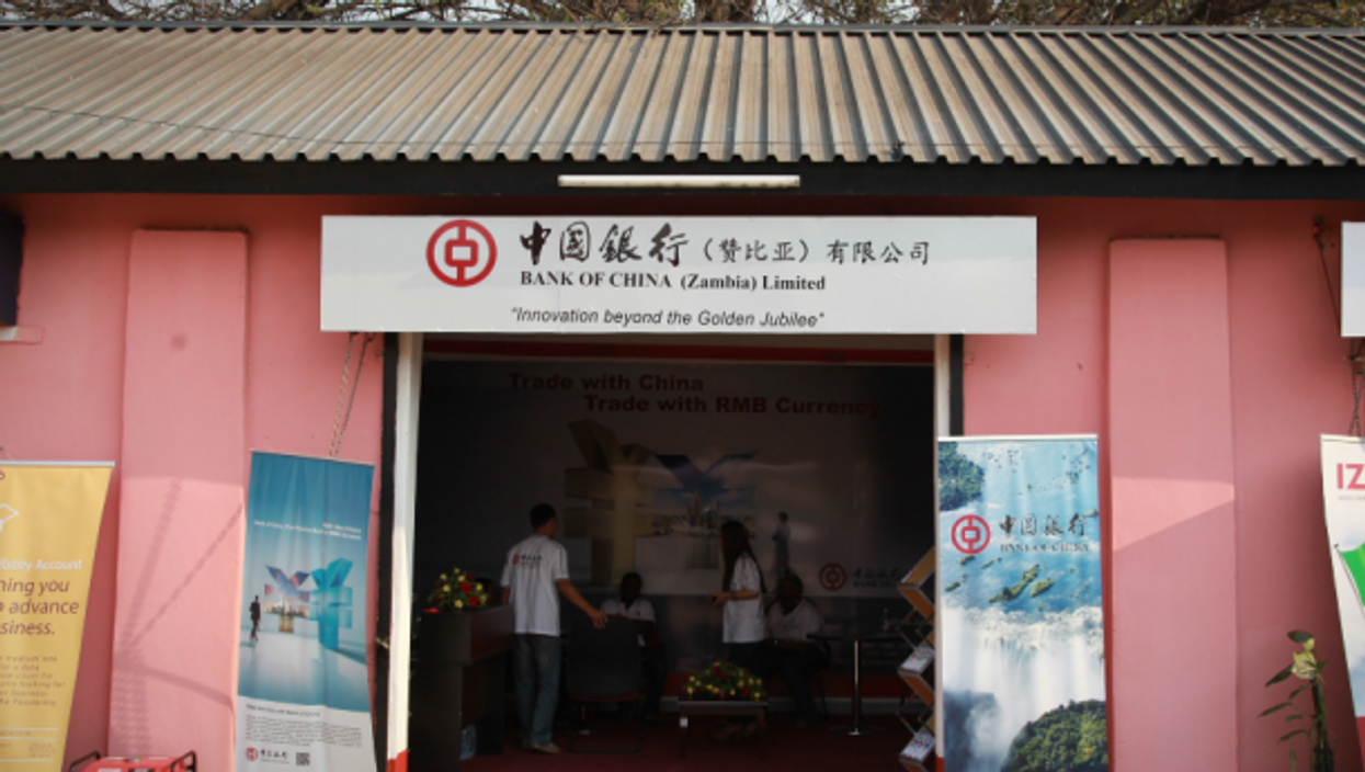 Bank Of China booth in Lusaka, Zambia