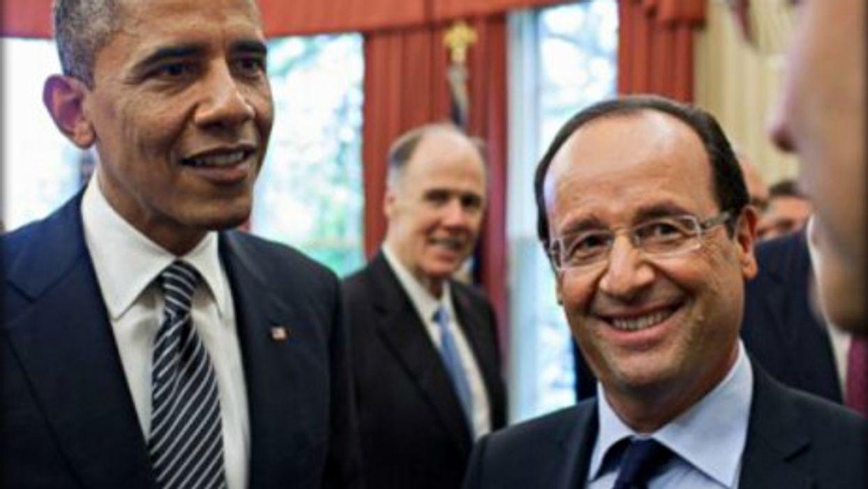 Barack Obama and Francois Hollande, all smiles on Tuesday