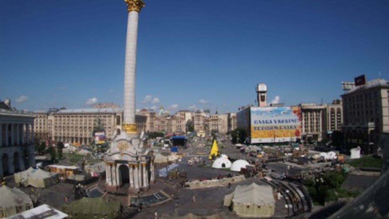 Barricades and tents at Maidan Square in Kiev, on July 14, 2014.