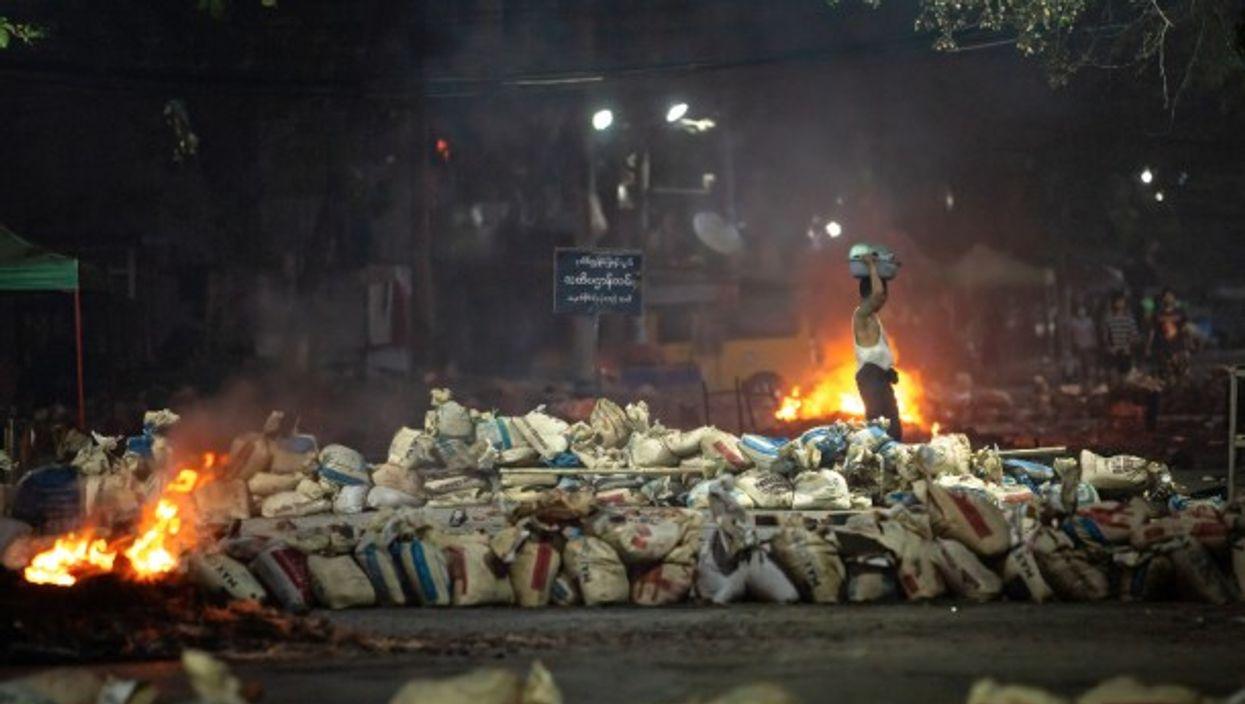 Barricades in Yangon, Myanmar