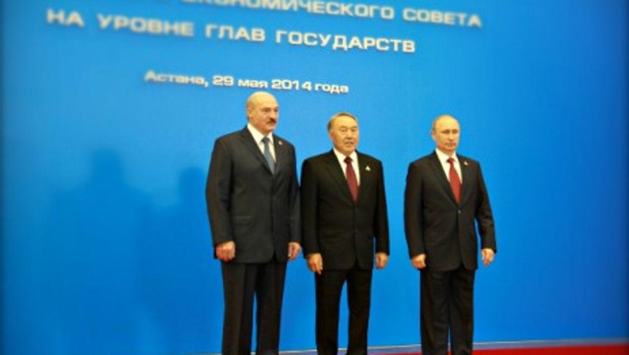Belarusian President Lukashenko, Kazakh President Nazarbayev and Russian President Putin in Astana in May