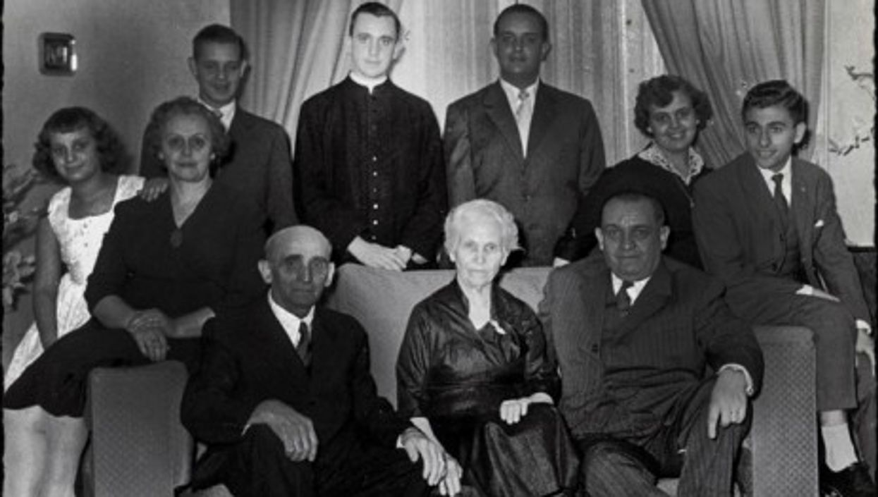 """Bergoglio family portrait with young Jorge standing behind his """"nonna"""" Rosa"""