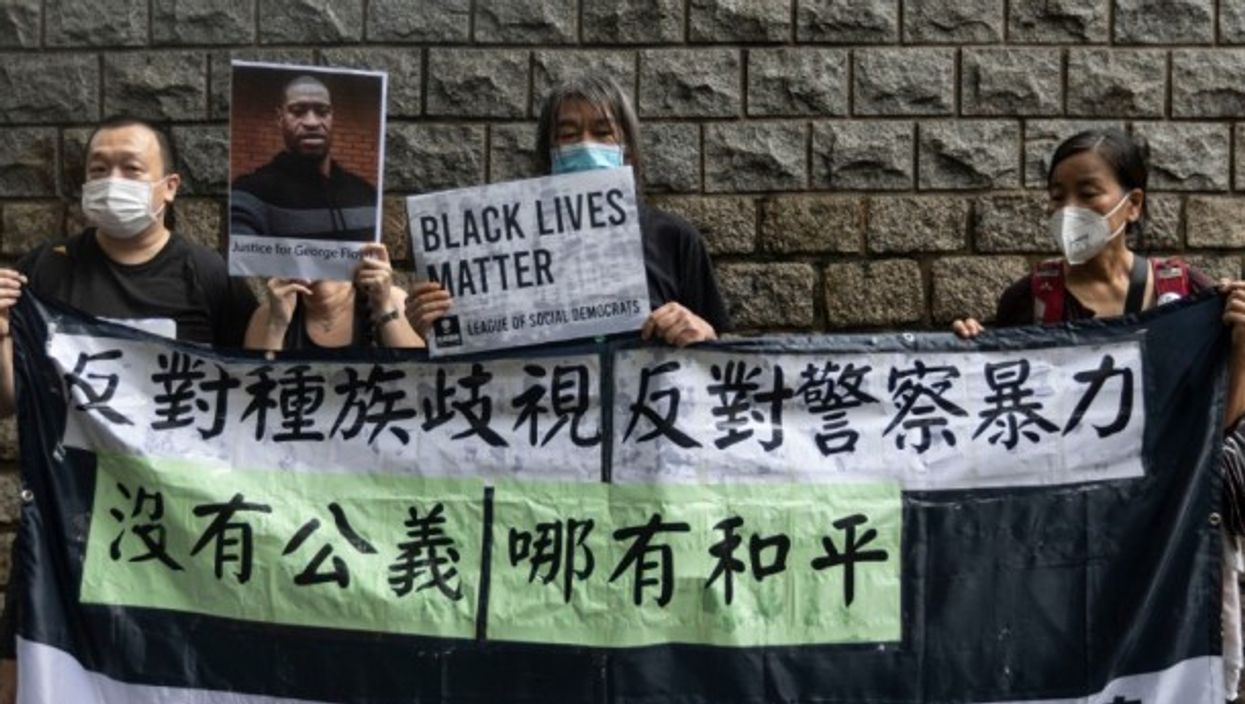 Black Lives Matter rally outside US consulate in Hong Kong