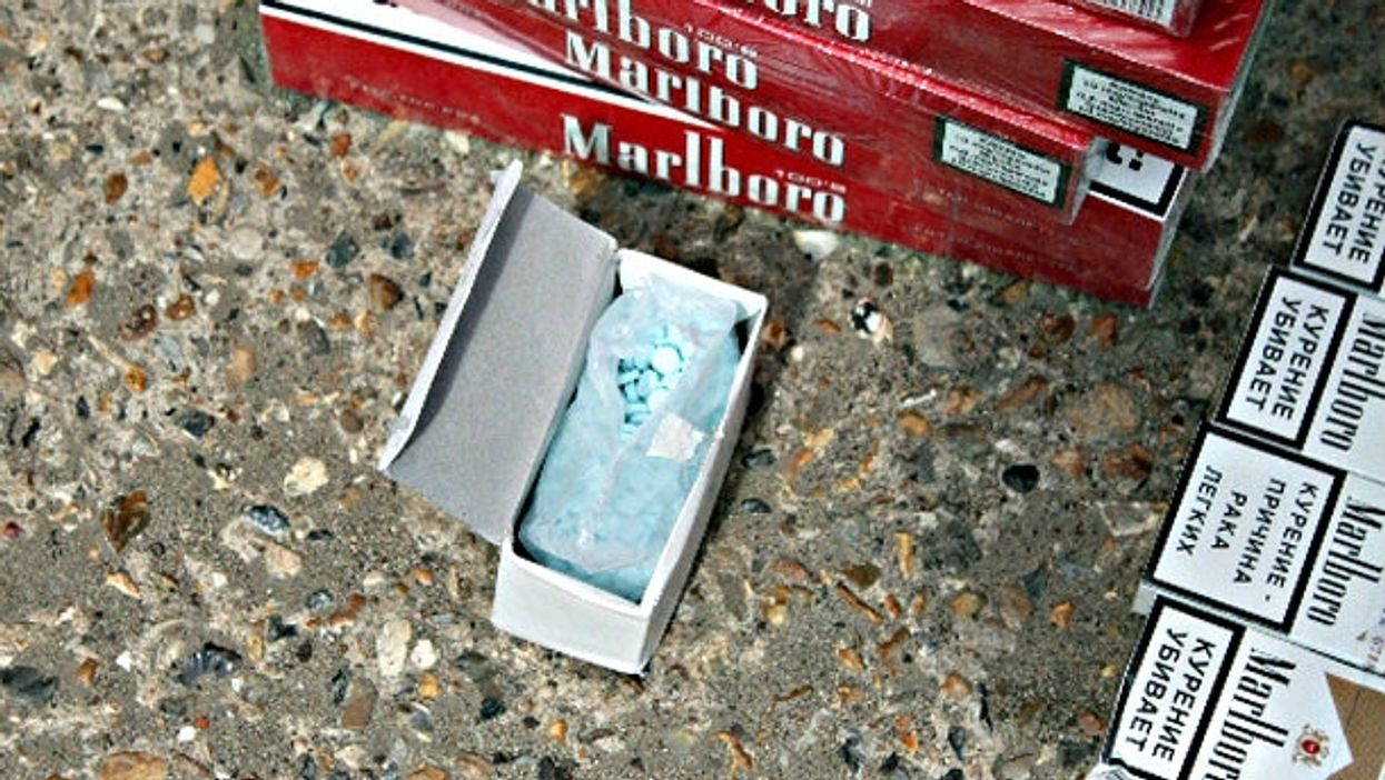 Black market cigarettes and viagra hauled in by UK customs police.