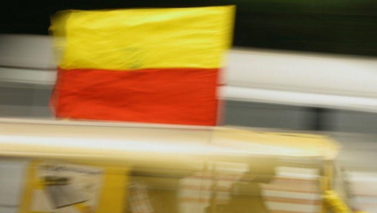 Blur of a Karnataka flag.