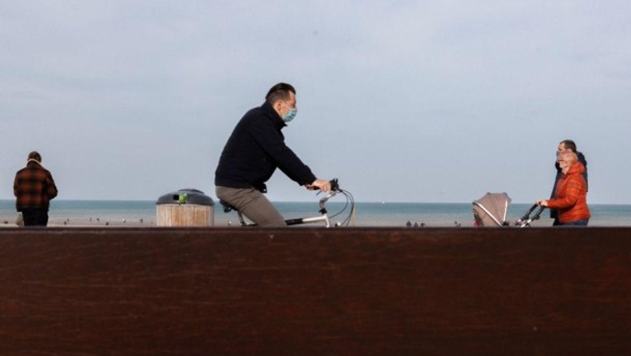 Boardwalk scene in La Panne, Belgium