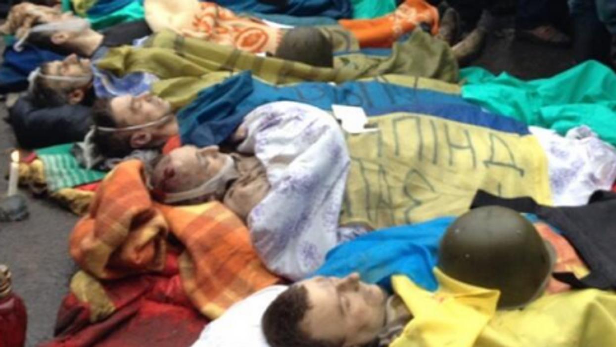 Bodies of protesters killed Thursday morning in central Kiev