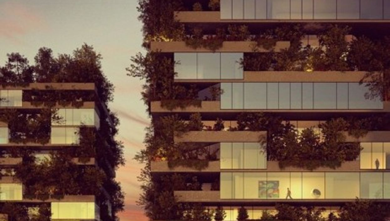Bosco Verticale at sunset