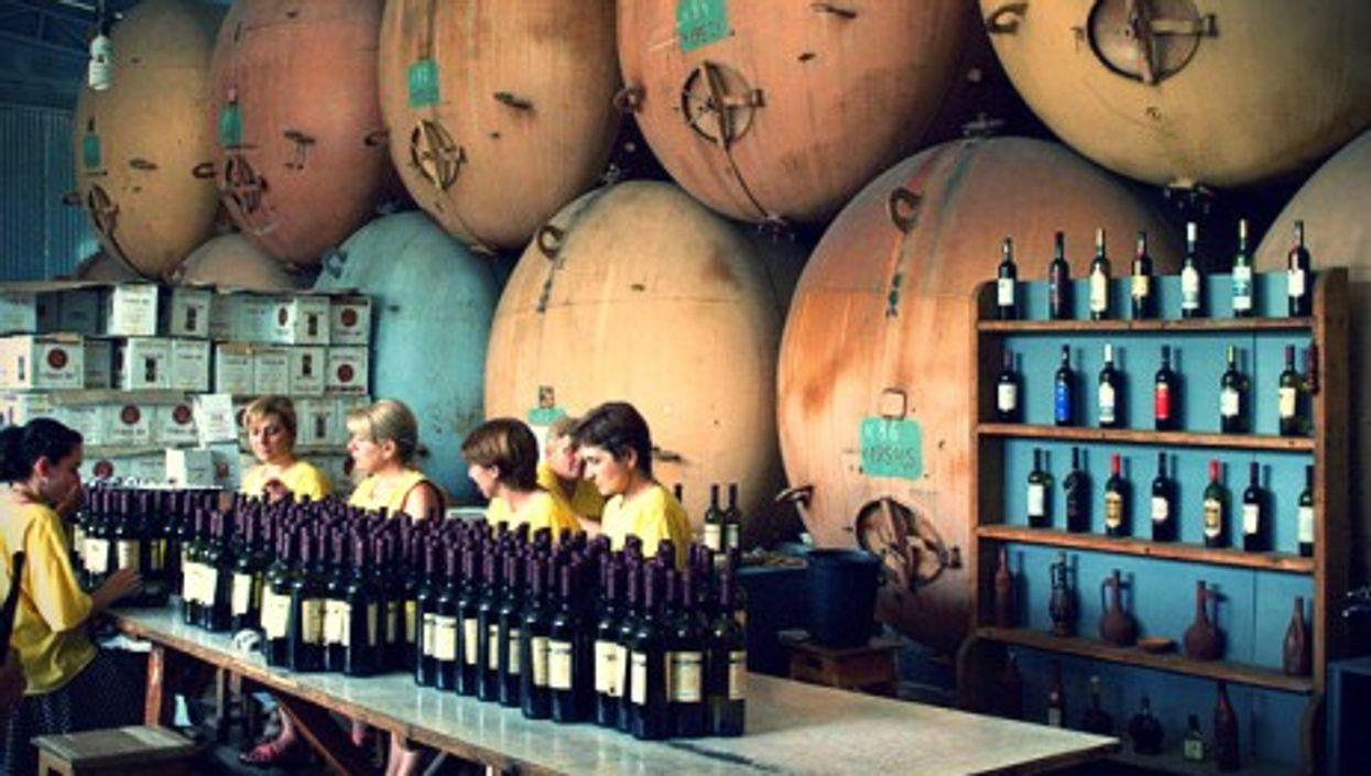 Bottling wine in Georgia's Kvareli region