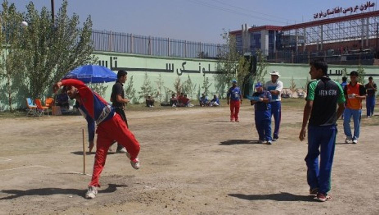 Bowling with the national team in Kabul's stadium