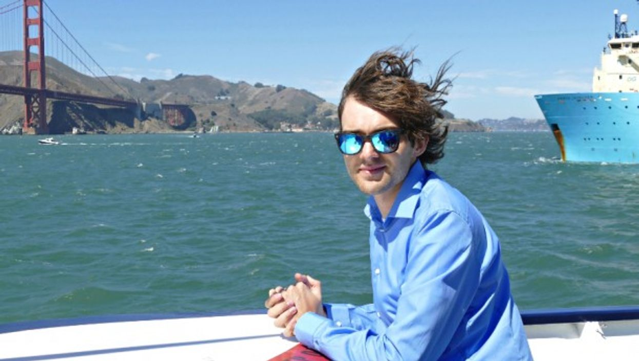 Boyan Slat at the Sept. 8 launch of Ocean Cleanup in SF Bay