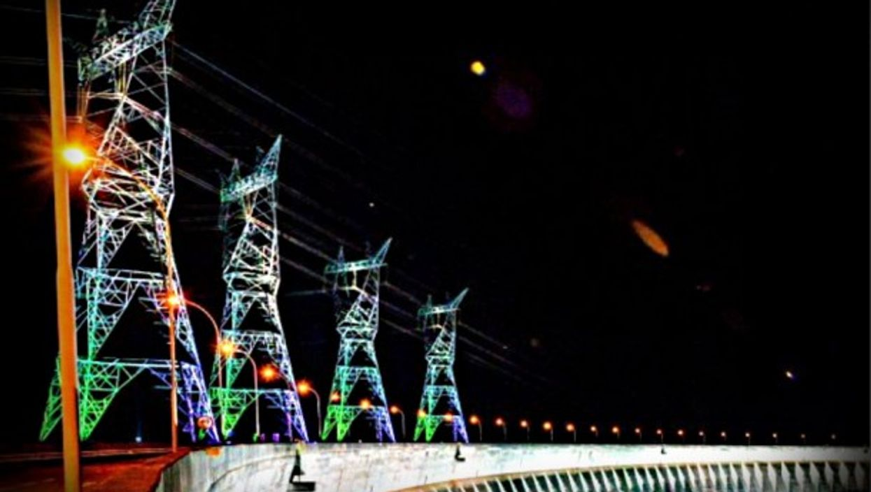 Brazil's Itaipu dam illuminated