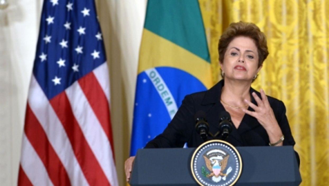 Brazilian President Dilma Rousseff speaks at the White House on June 30, 2015