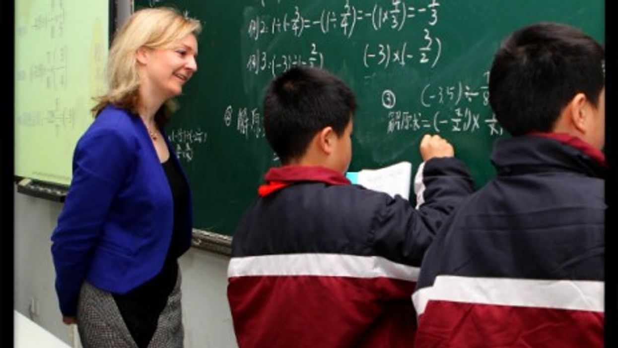 British Education Minister Elizabeth Truss attends a lesson in Shanghai