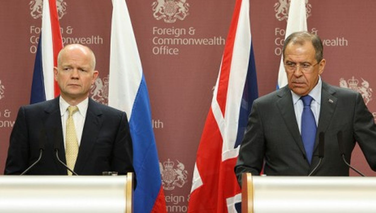 British Foreign Minister Hague (left) and his Russian counterpart Lavrov last year (UK Foreign Office)