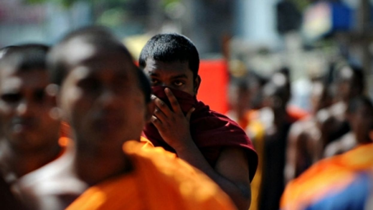 Buddhists monks in Colombo, Sri Lanka