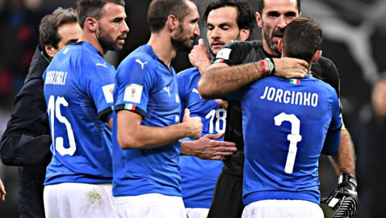 Buffon with his Italy teammates after World Cup elimination.