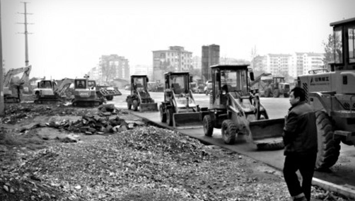 Bulldozers in Shimen, in China's Hunan Province