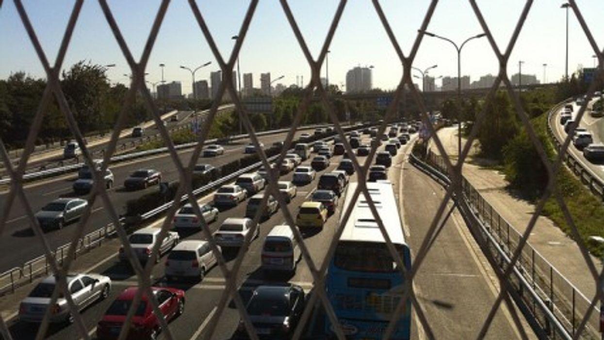Bumper to bumper traffic in Beijing, China