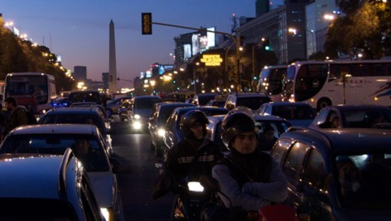 Bumper to bumper traffic in Buenos Aires, Argentina