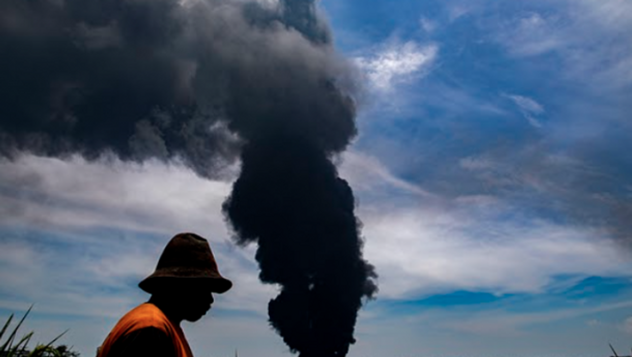 Burning refinery in Balongan, Indonesia, where a massive fire has injured at least 6.
