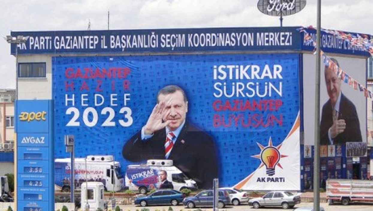 Campaign poster for Prime Minister Recep Tayyip Erdo?an of the AKP