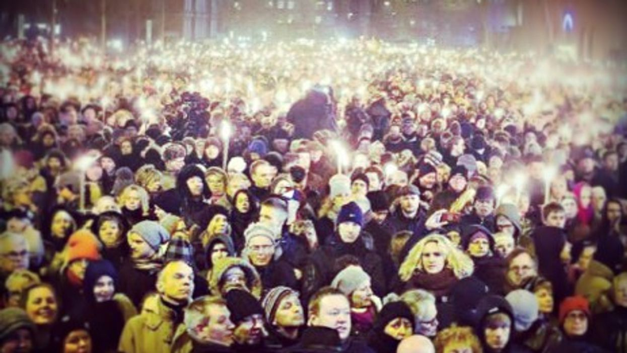 Candelight vigil in Copenhagen's Osterbro area on Monday
