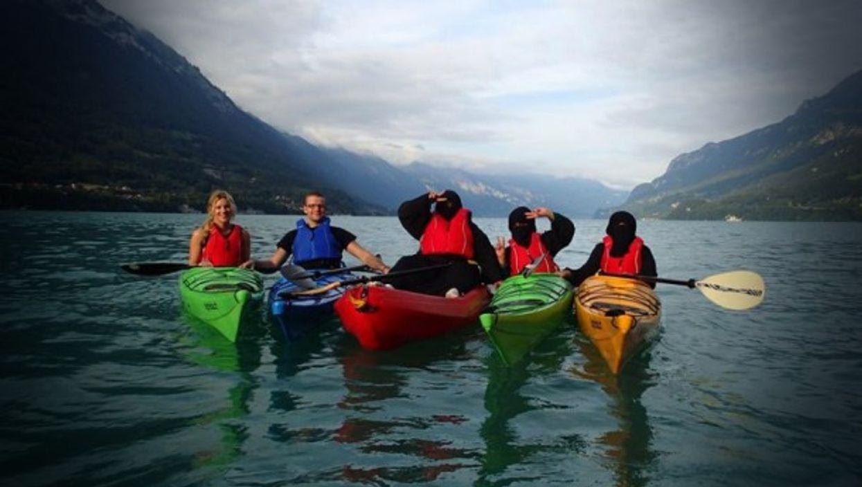 Canoeing in burqa