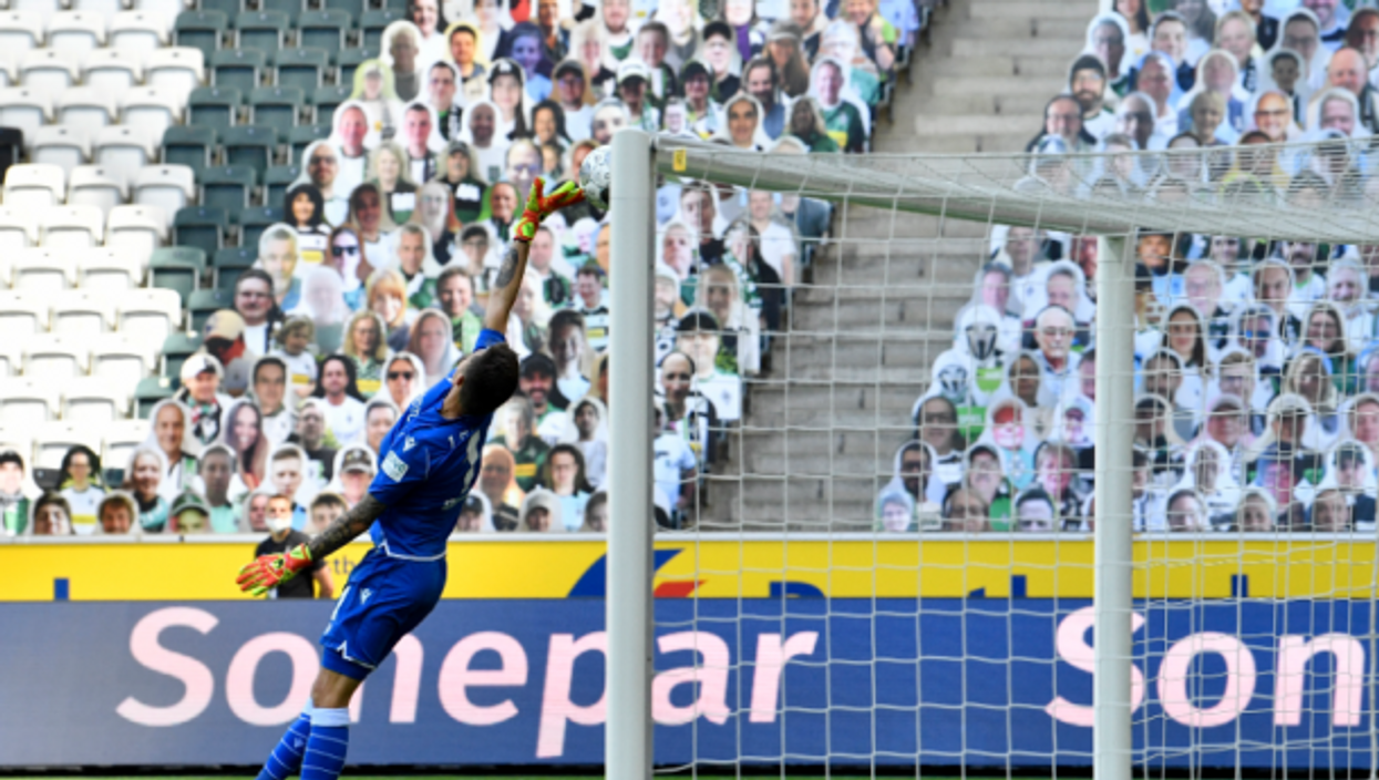 Cardboard cutouts at a soccer game in Borussia-Park on May 31