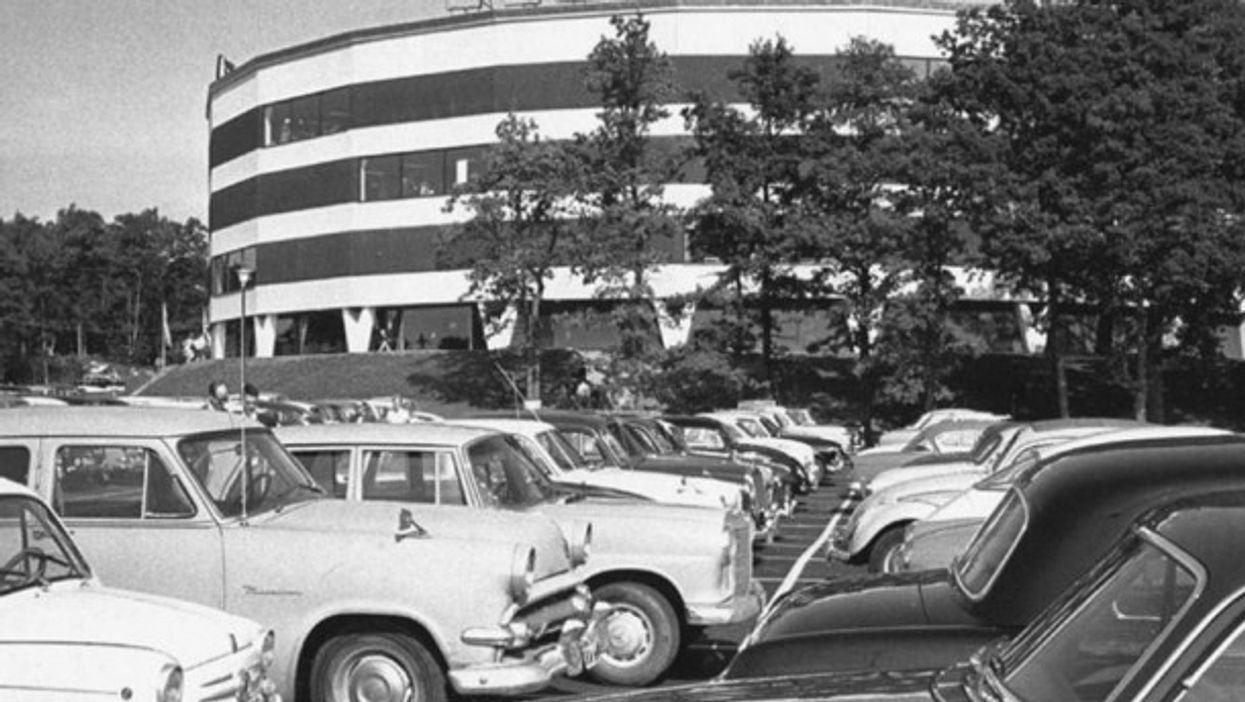 Cars parked outside the first IKEA store in Älmhult