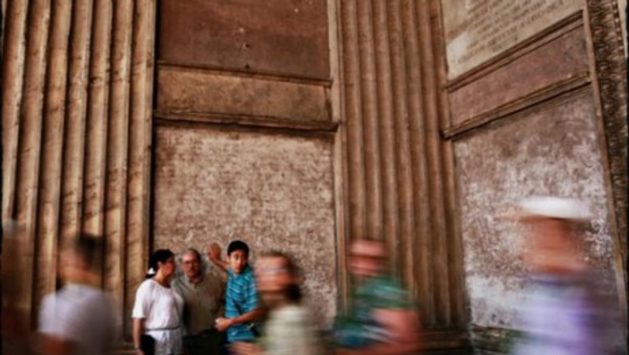 Caught in the act: In Rome, don't do as the tourists do.