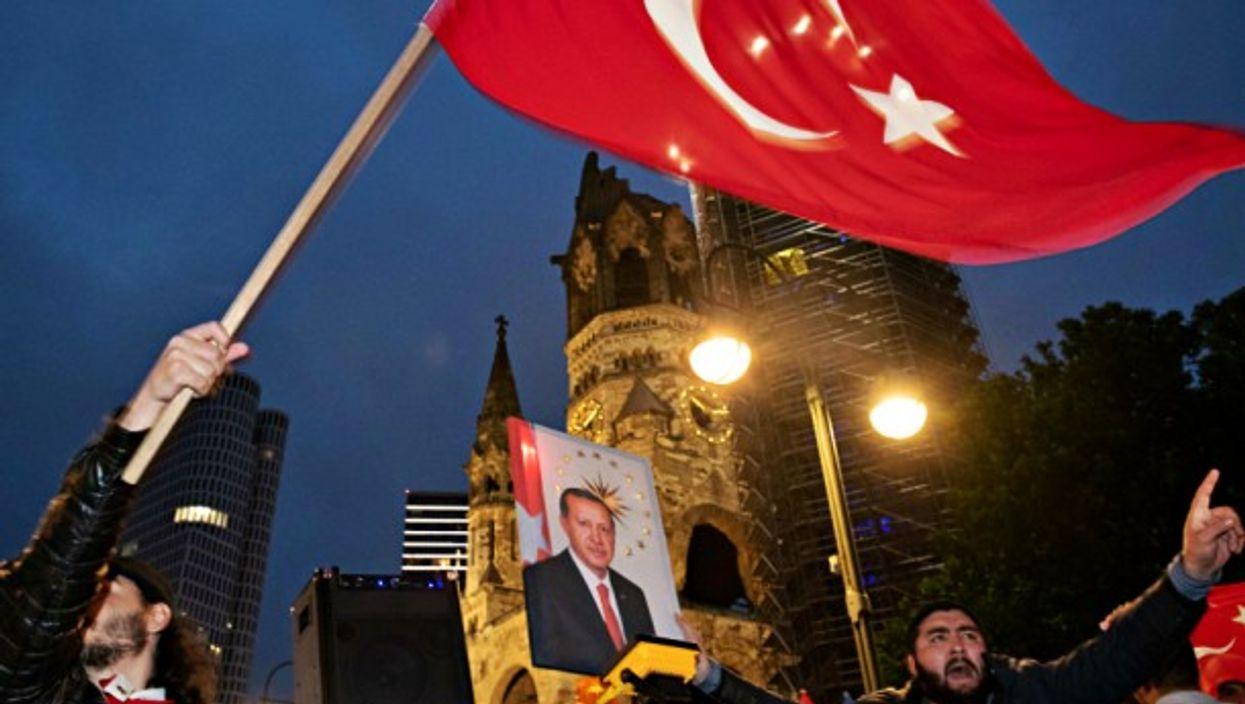 Celebrating Erdogan's victory in Berlin on June 24.