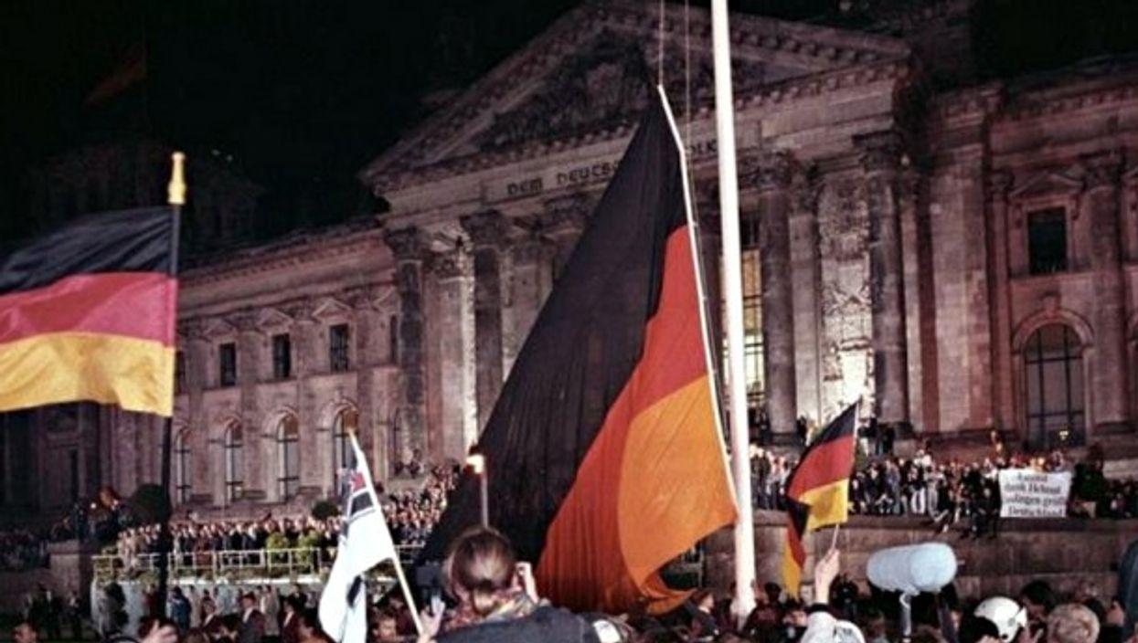 Celebrating 'German Unity' day in Berlin on Oct. 3, 1990