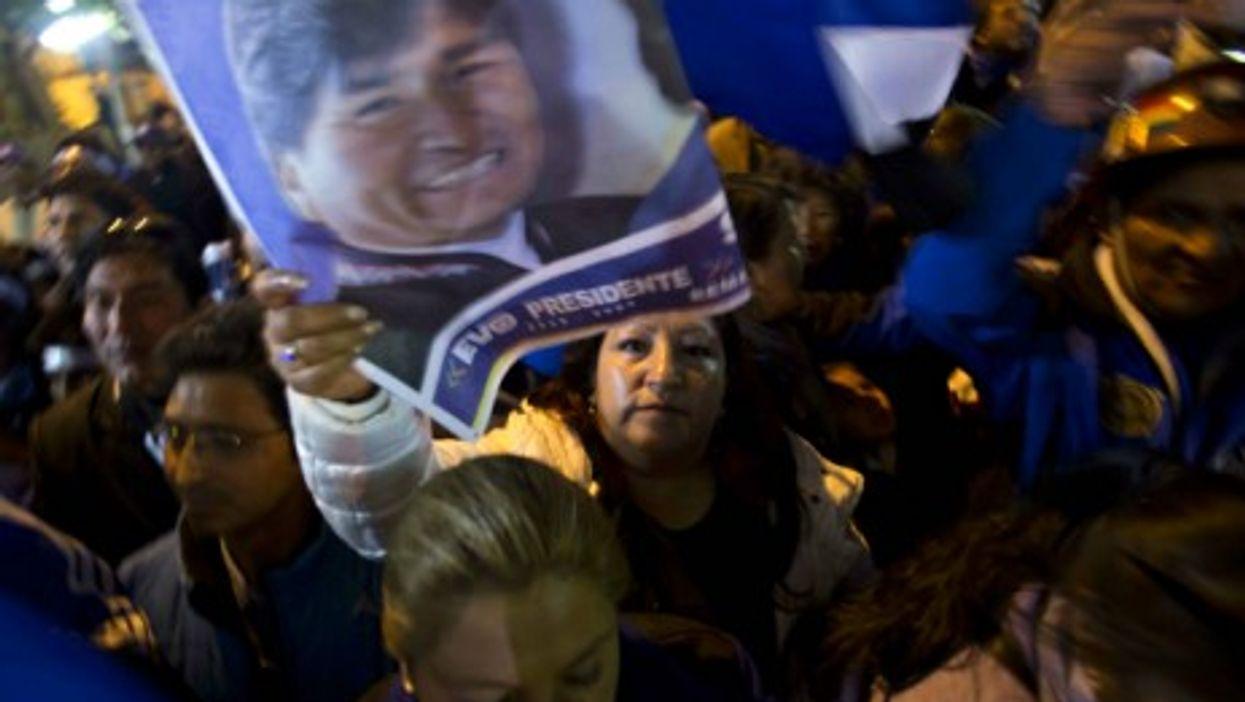 Celebrating Morales' reelection in La Paz on Monday.