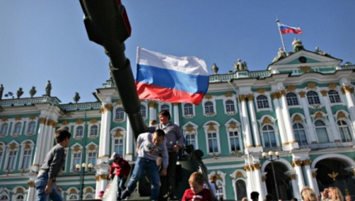 Celebrating National Flag Day in St. Petersburg in August 2014