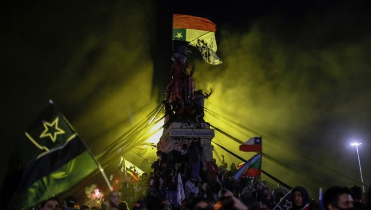 Celebrations in Santiago in Oct. 2020 when the country voted to replace its constitution