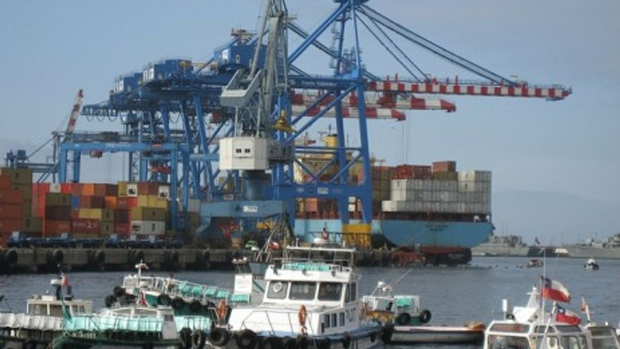 Chile's busy industrial port in Valparaiso