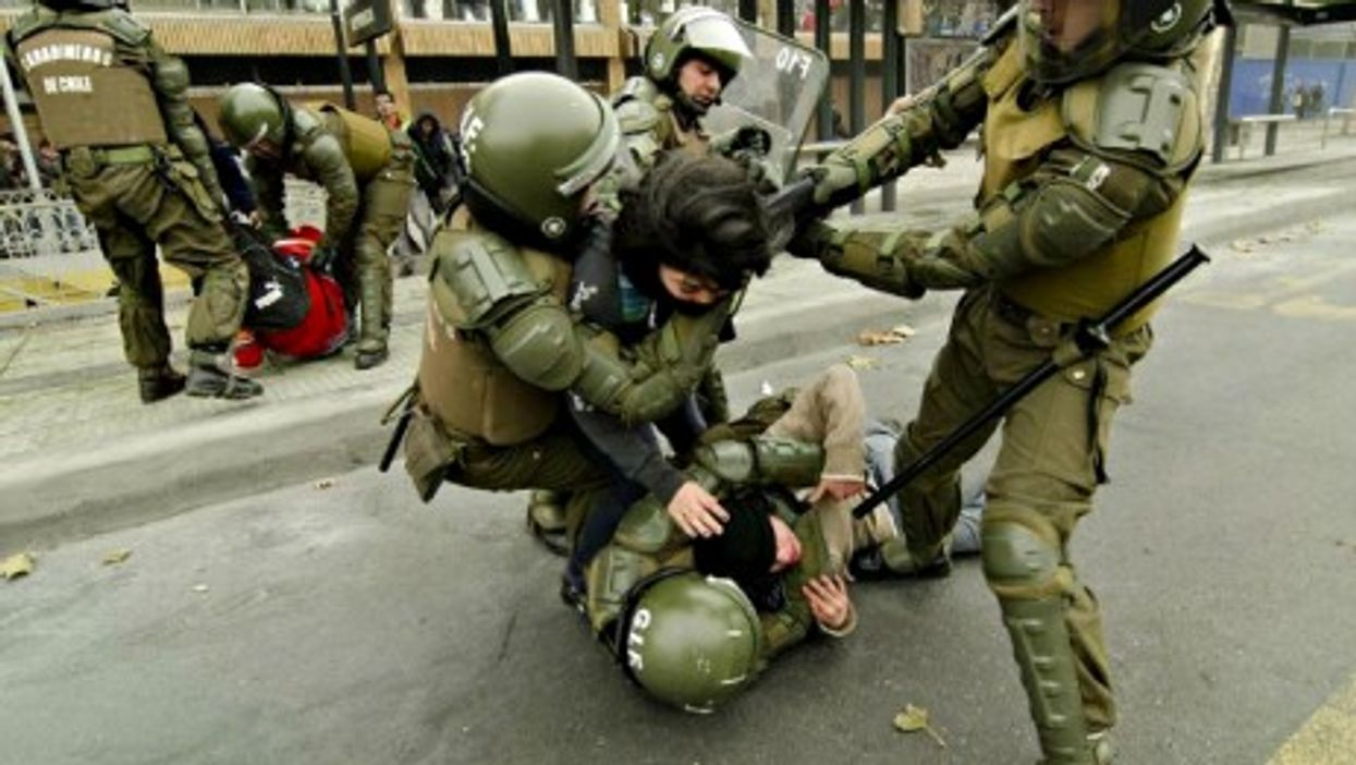 Chilean students protesting against the government's educational reforms clashed with police Tuesday in Santiago.