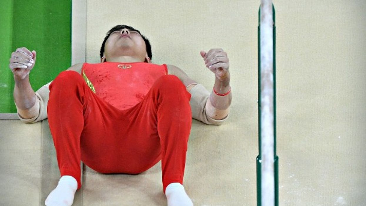 Chinese gymnast Hao You after a fall at the Rio Olympics on Aug. 16