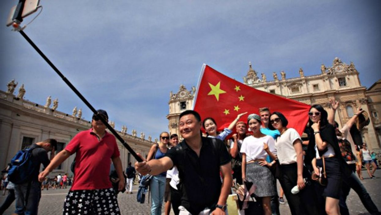 Chinese pilgrims in St. Peter's Square at the Vatican in 2016