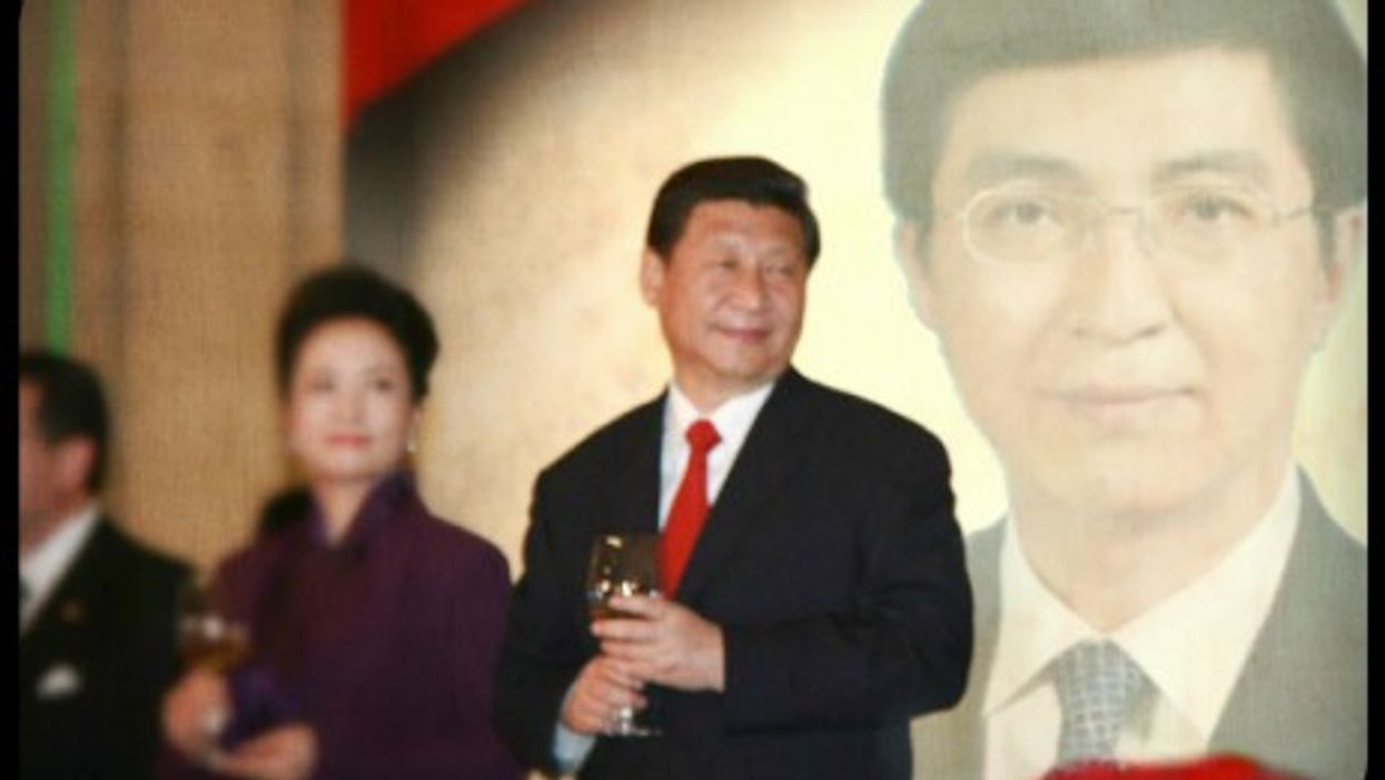 """Chinese President Xi Jinping and his """"spin doctor,"""" Wang Huning"""