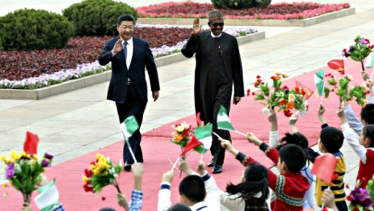 Chinese President Xi Jinping and Nigerian President Muhammadu Buhari in Beijing on April 12