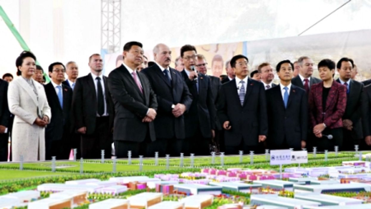 Chinese President Xi Jinping at the China-Belarus Industrial Park with Belarusian President Alexander Lukashenko on May 12