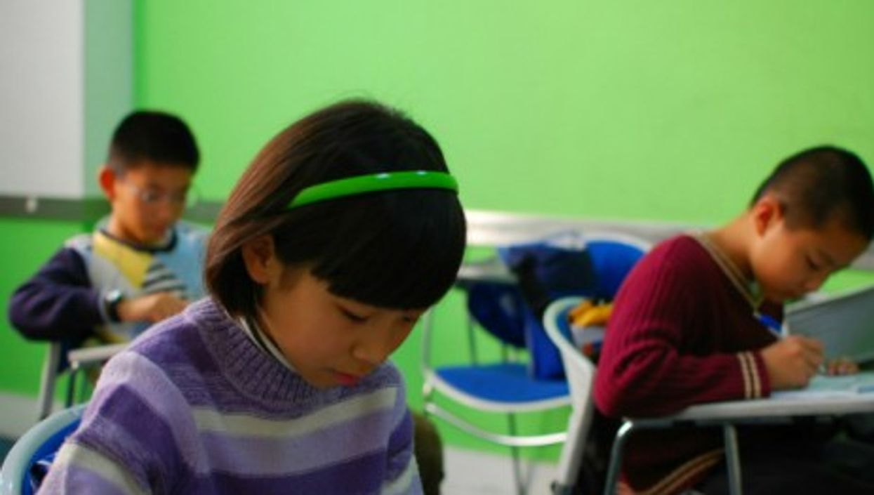 Chinese pupils taking a test