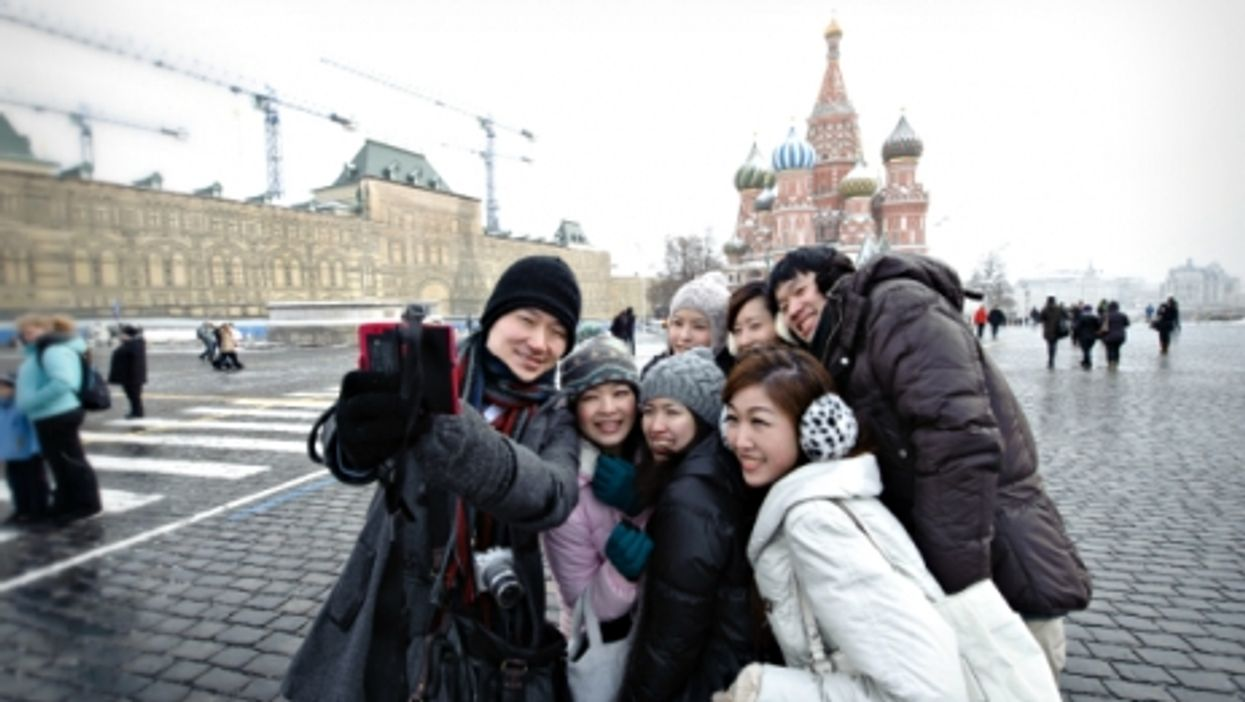 Chinese tourists in Moscow's Red Square