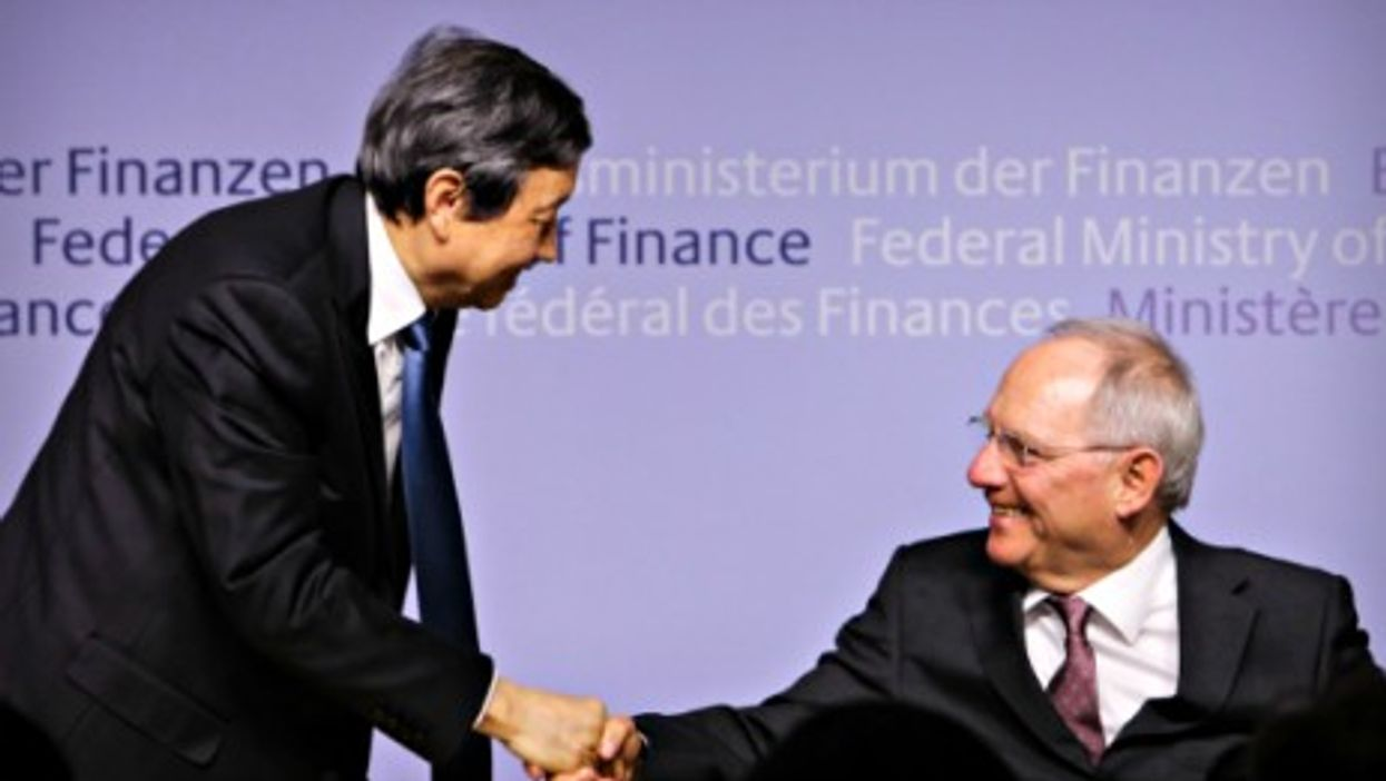Chinese Vice Premier Ma Kai and German Finance Minister Wolfgang Schaeuble. On March 17 Germany confirmed it was joining the AIIB.