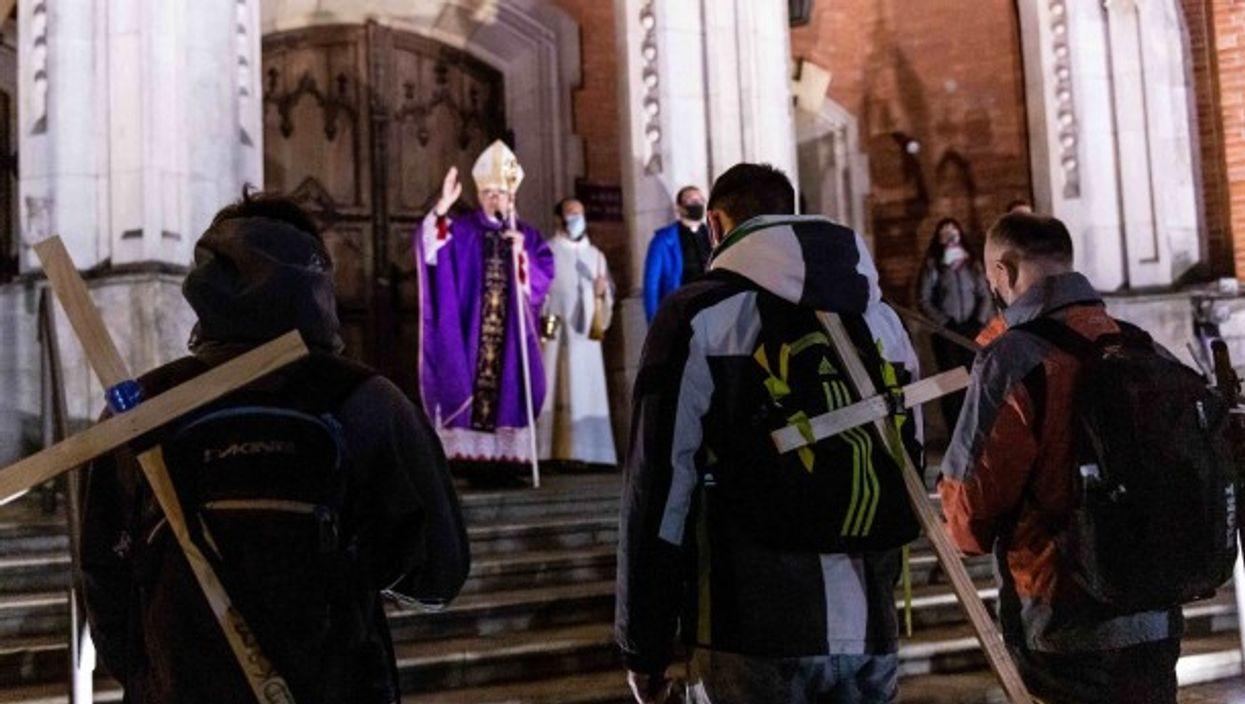Churchgoers pray at St. Joseph's Cathedral
