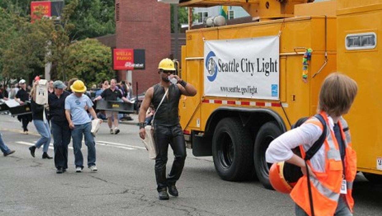 City worker at Gay Rights parade in Seattle (markjhandel)