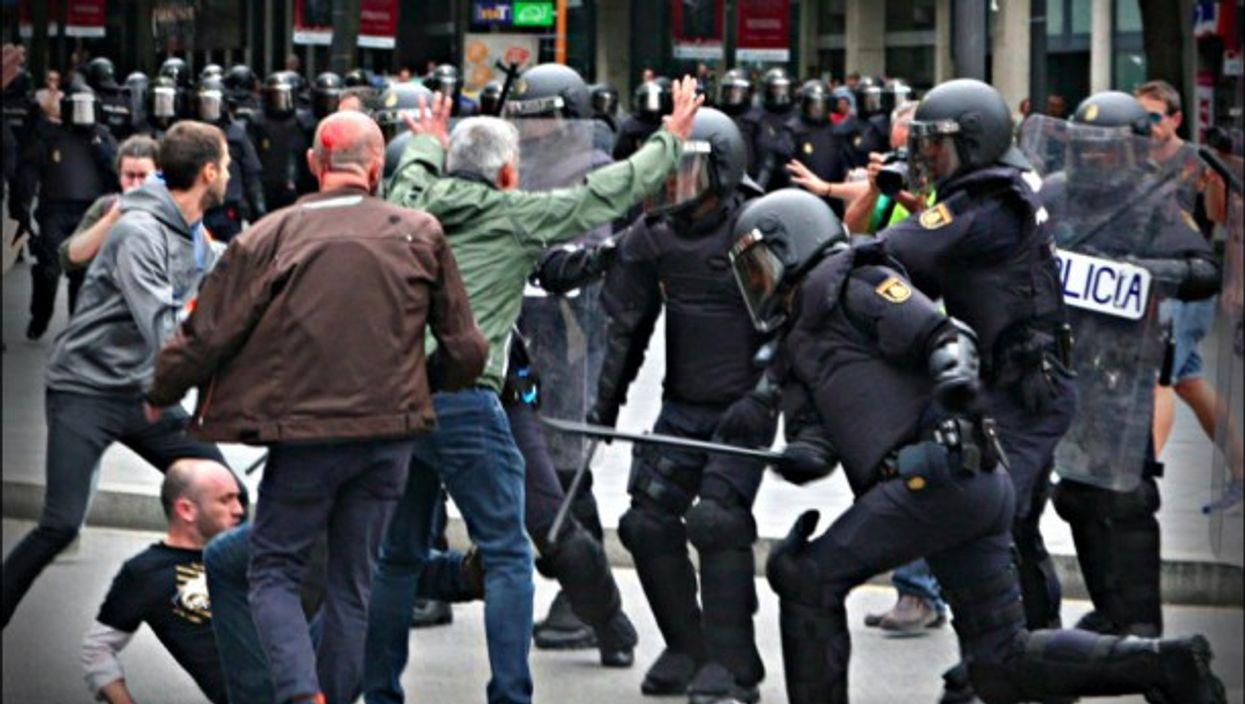 Clashes in Tarragona, Catalonia on Sunday